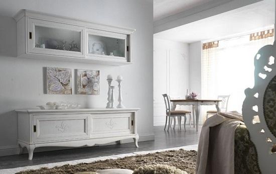 Come scegliere la parete attrezzata in una casa dallo stile classico - Parete attrezzata bianca ...